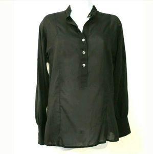 Theory black semi sheer popover blouse